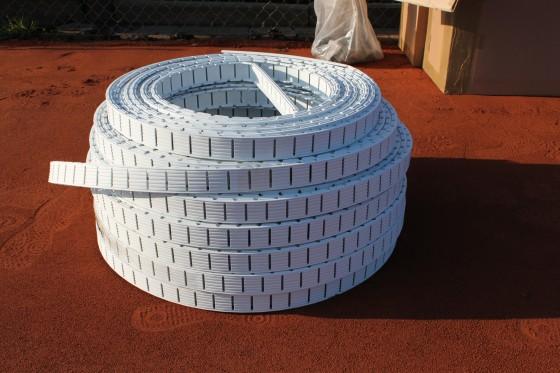 Ideala II Tennislinie 4+5 cm breit Bodenanker L-Form
