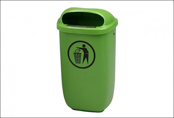 Abfallbehälter Kunststoff, grün 50 l inkl. 1x 2005003 und 2x 2014929